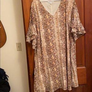 Snake print dress with ruffle sleeves